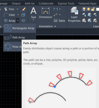Path Array command in AutoCAD