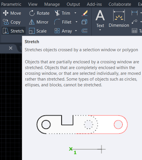 AutoCAD stretch command