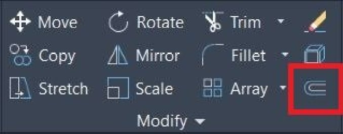 offset command symbol in AutoCAD Modify panel