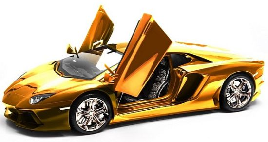 Robert Guelpen Gold Lamborghini Aventador Model