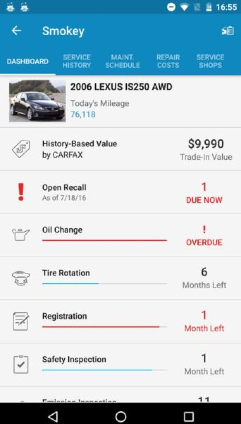Car maintenance by myCARFAX