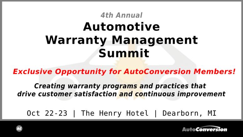 Automotive Warranty Management Summit 2019