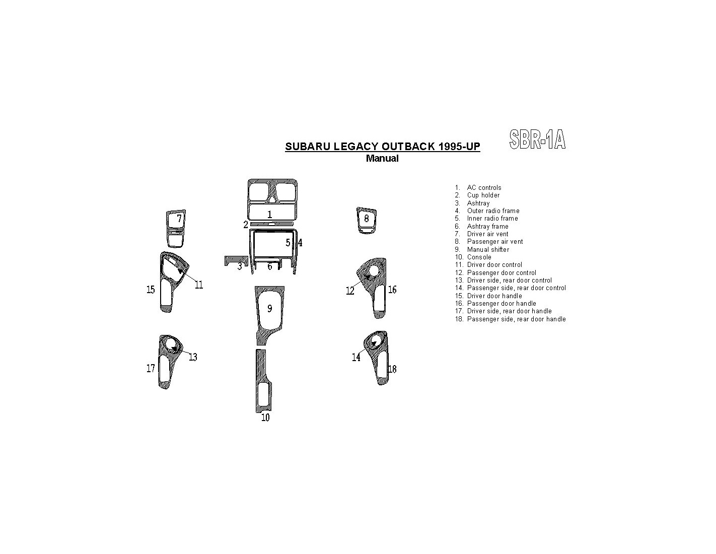 Subaru Legacy Outback 1995-1999 Manual Gearbox, 18 Parts