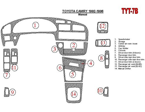 Toyota Camry 1992-1996 Manual Gearbox, 14 Parts set