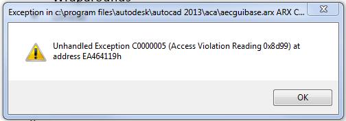 Unhandled Exception C0000005 - Autodesk Community