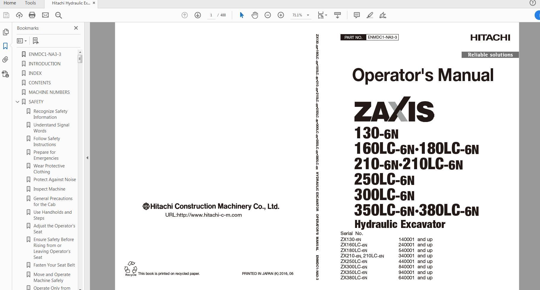 Hitachi Hydraulic Excavator ZX80-GI TODEK-EN-00 Technical