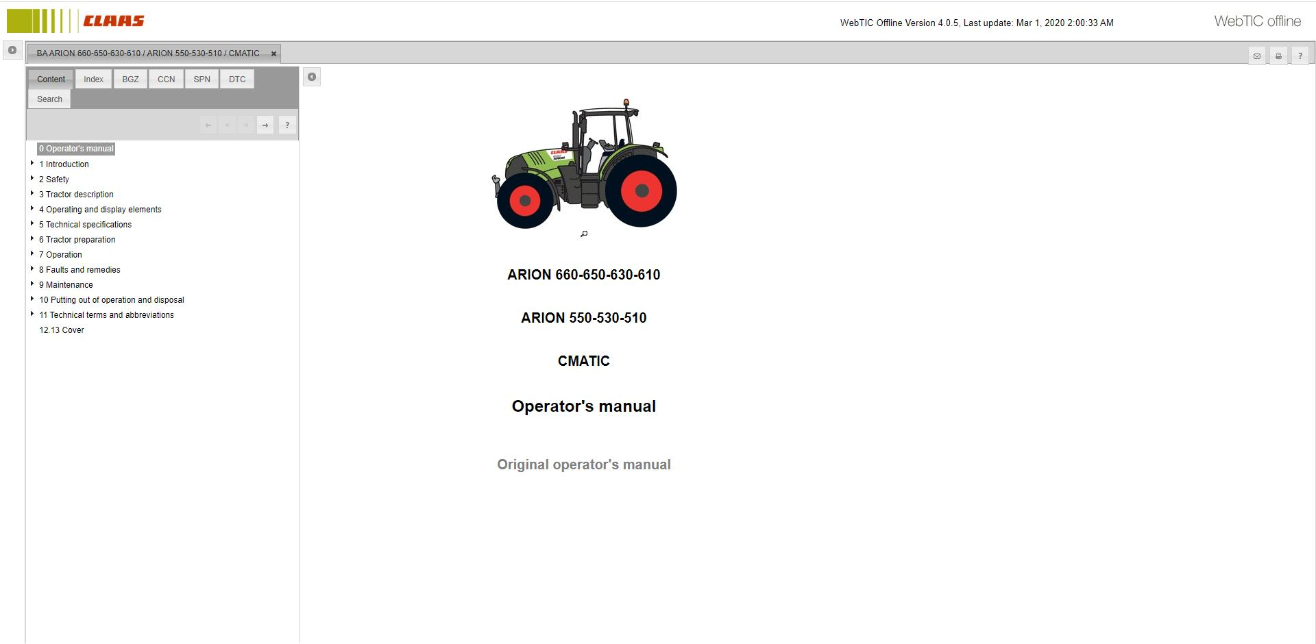 CLAAS WebTIC Offline [03.2020] Operator Manual & Repair