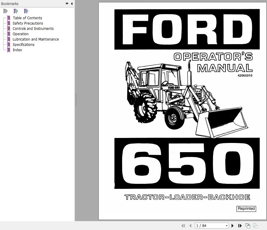 New Holland Ford 655A Tractor-Loader-Backhoe Operator's