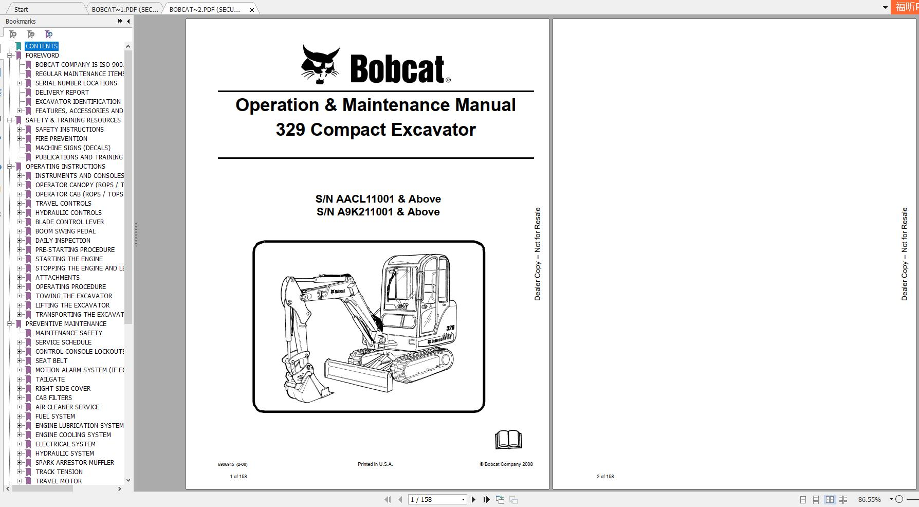 Bobcat Compact Excavator 329 Operation & Maintenance