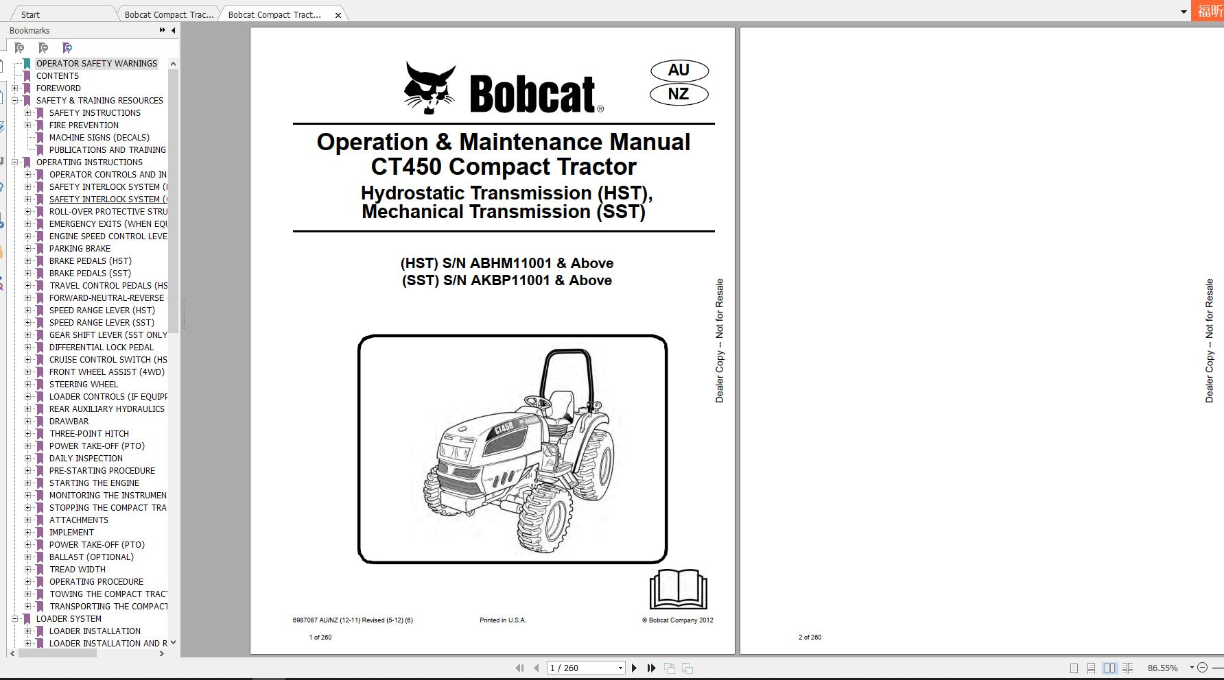 Bobcat Compact Tractor CT450 Operation & Maintenance