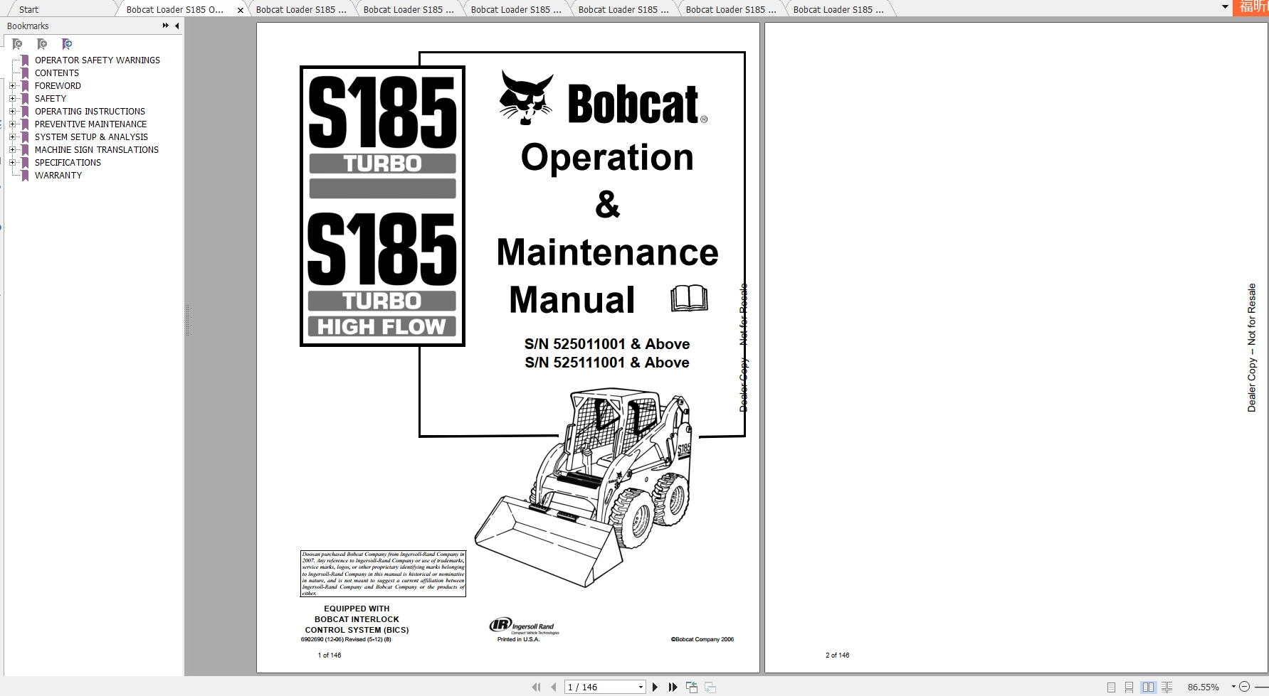 Bobcat S220 Repair Manual Skid Steer Loader