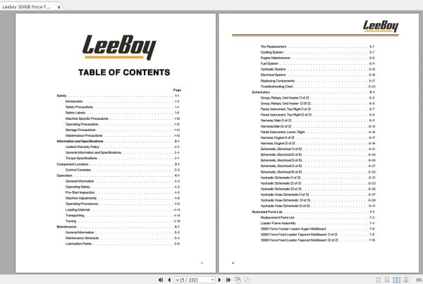 Leeboy 3000B Force Feed Loader Operations, Service And
