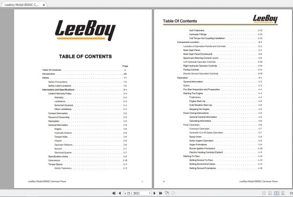 Leeboy Model 8500C Conveyor Paver Operations, Service And