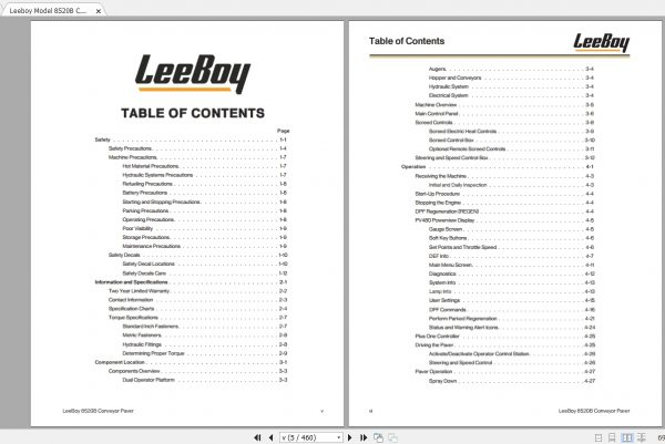 Leeboy Model 8520B Conveyor Paver Operations, Service And