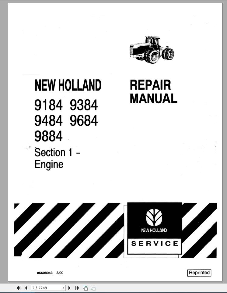 New Holland Tractor 9184, 9384, 9484, 9684, 9884 Repair