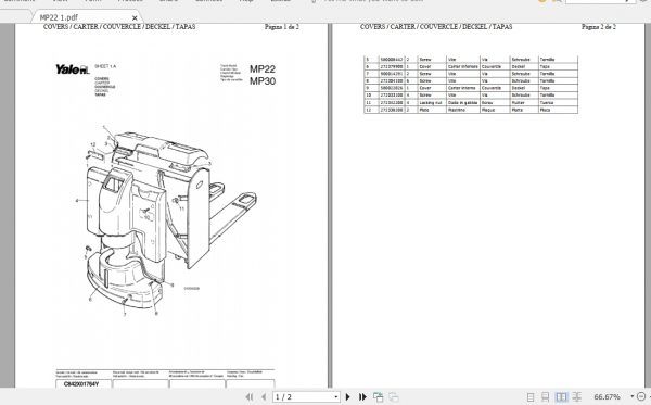 Yale Forklift MP22, MP30 2008 Parts Manual_524148911