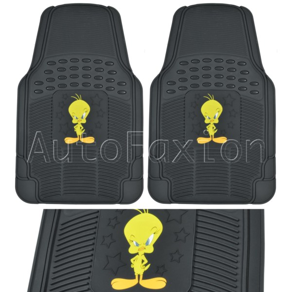 4pc Looney Tunes Tweety Rubber Car Floor Mat Auto Backing