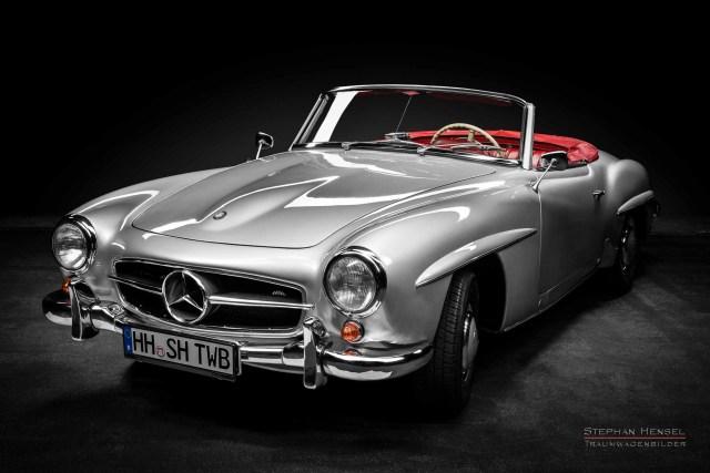 Mercedes-Benz 190 SL, Studioaufnahme, Ansicht von vorn links, Automobilfotografie: Stephan Hensel, Hamburg