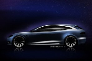 Длинные окна и большой багажник: появились первые изображения универсала Tesla Model S