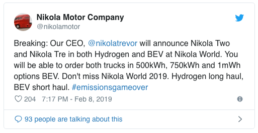 "Nikola Motors ""разгонит"" свои батареи до 1-мегаватт-часа и представит еще два электрогрузовика"