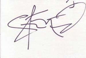 Steve-O Autographed Index Card