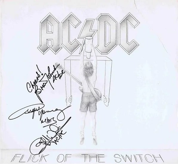 AC/DC Autographs Angus Young and Brian Johnson