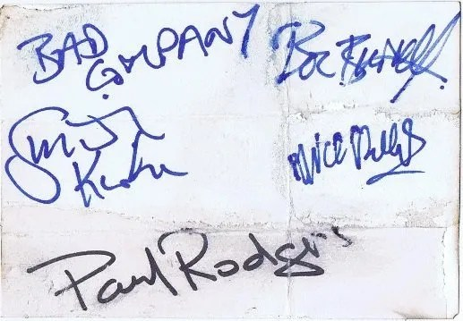 Bad Company Autographs for sale