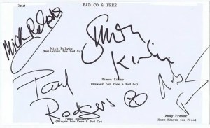 Bad Company and Free Autographs – Paul Rodgers Mick Ralphs Simon Kirke Andy Fraser