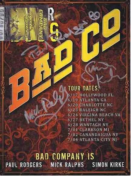 Bad Company autographed poster signed by Paul Rodgers, Mick Ralphes and Simon Kirke.