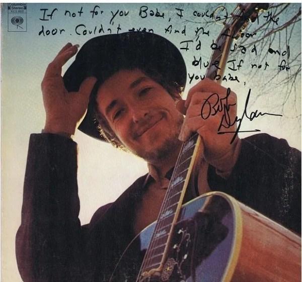 Bob Dylan Nashville Skyline Autographed Lp w/ Handwritten Lyrics – If Not For You
