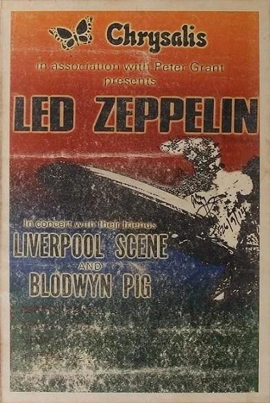 Led Zeppelin: Jimmy Page autographed Original 1969 Concert Poster (JSA)