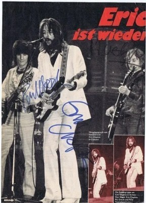 Autographed Magazine from Eric Clapton, Ronnie Wood and Ric Grech