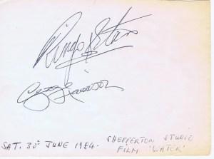 George Harrison Ringo Starr Autographs 1984 | The Beatles