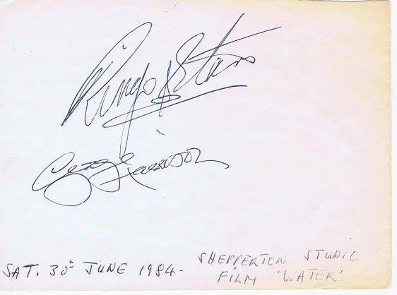 George Harrison Ringo Starr Autographs 1984 | The Beatles