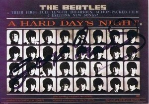 George Martin Autographed – The Beatles A Hard Days Night postcard