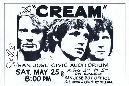 Ginger Baker CREAM Autographed flyer print 16 x 11.5 inch