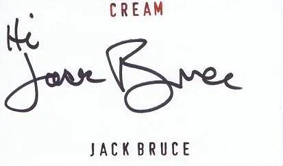 Jack Bruce of Cream signed card
