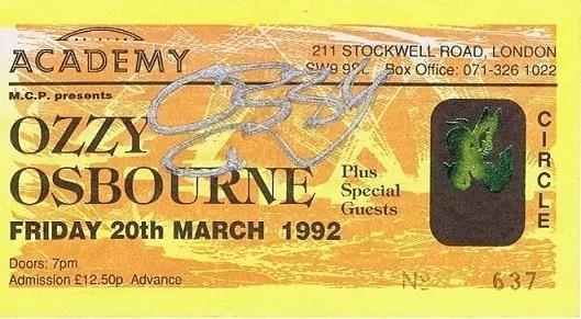 Ozzy Osbourne Autographed Ticket – Black Sabbath Autographs