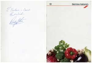Ringo Starr Autographed British Airways Menu