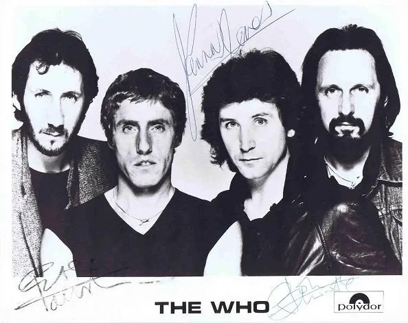 The Who Autographed photo. John Entwistle, Pete Townshend, Kenny Jones and Roger Daltrey
