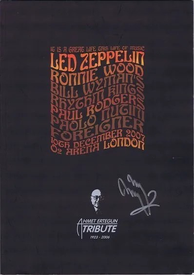 Jimmy Page Autograph Led Zeppelin Ahmet Ertegun