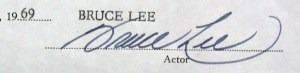 Bruce Lee Autograph contract Jan 1969