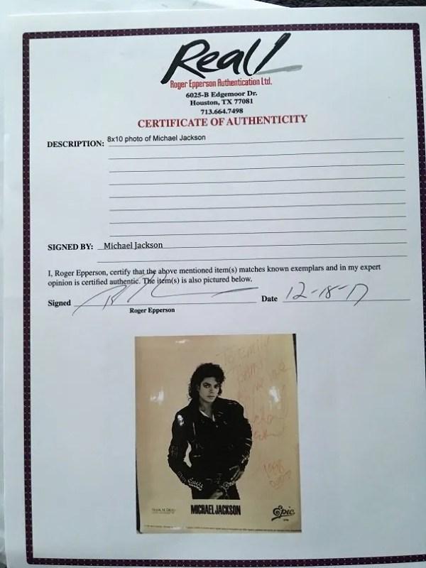 Michael Jackson autograph 8×10 promo photograph