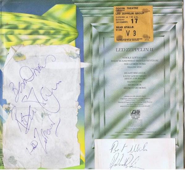 John Bonham and Robert Plant Autographs Led Zeppelin