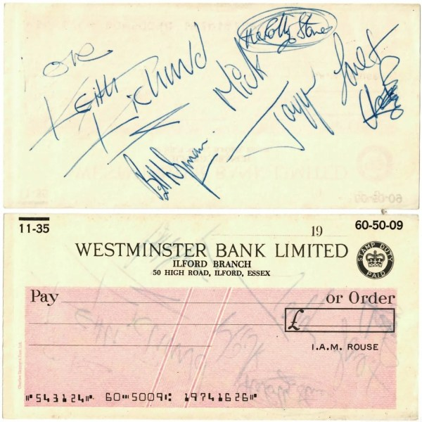 The Rolling Stones autograph cheque