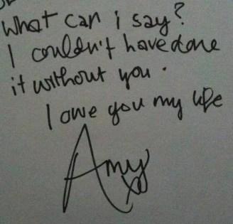Amy winehouse handwritten note signed
