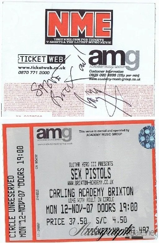 Jimmy Page autographed Concert ticket Sex Pistols 2007