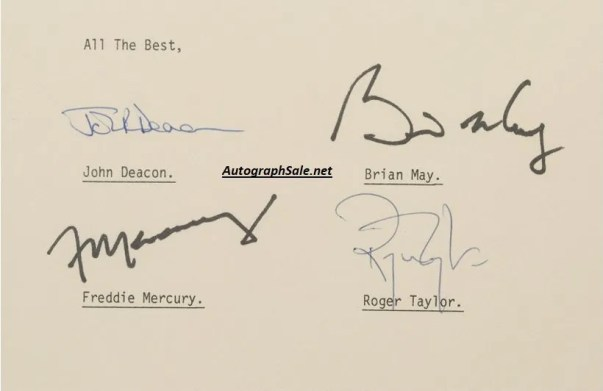 queen autograph contract signed freddie mercury