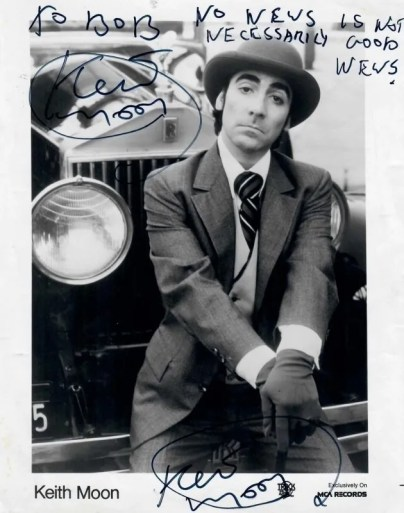 Keith Moon signed photograph The Who autographs