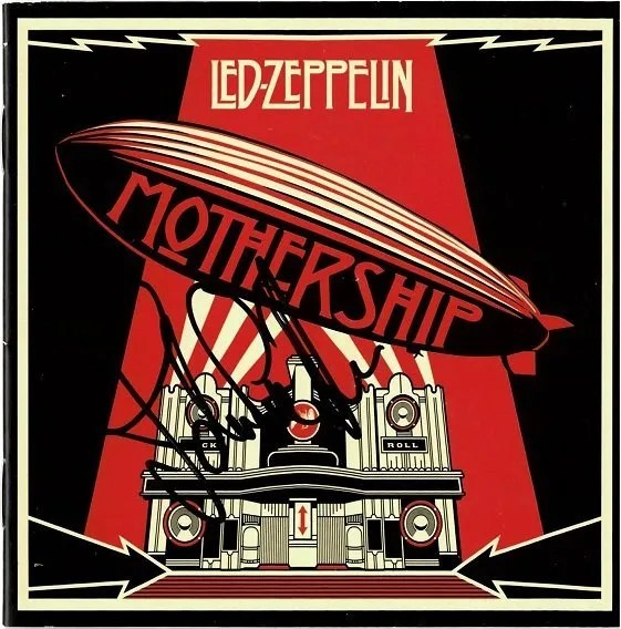 John Paul Jones autograph Led Zeppelin Mothership CD Cover